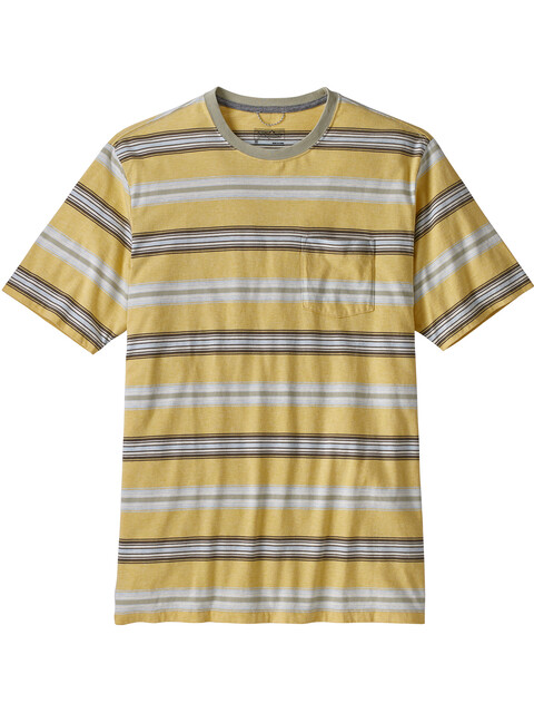 Patagonia M's Squeaky Clean Pocket Tee Tarkine Stripe/Surfboard Yellowith Weathered Stone